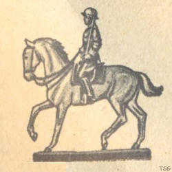 Elastolin Officer riding on horseback, with raised sword