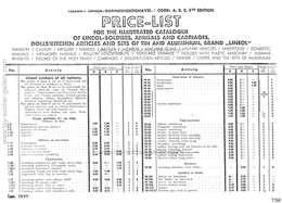 Lineol Price-List for the illustrated catalogue of LINEOL soldiers, animals and carriages